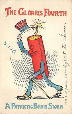 July 4Th Holiday Comic Firecracker Brain Storm Patriotic Postcard 1907