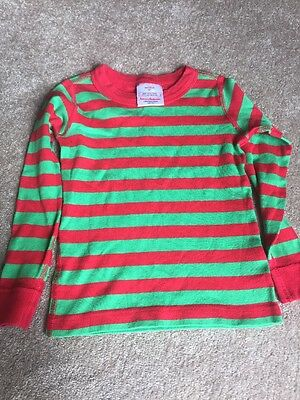 Euc Hanna Andersson Size Green And Red Stripes Size 4 Unisex Organic Cotton Pjs
