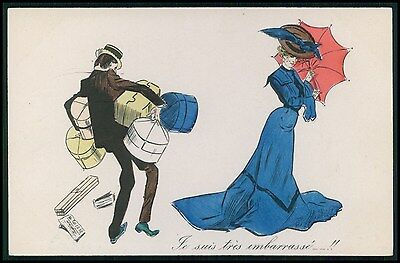 art Xavier Sager ? erotic Lady shopping & male surcharge original 1910s postcard