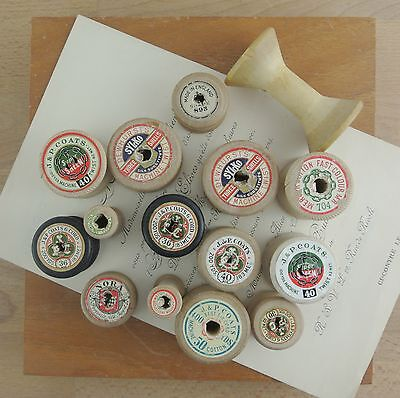 Lot Vintage Wooden Sewing Thread Reels Spools x 15 J&P Coats, Nora ETC