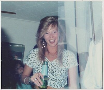 Vintage 80s PHOTO Cute Young Blond Woman Girl w/ Beer