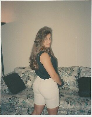 Found PHOTO Back View Young Woman In Shorts Looking Back