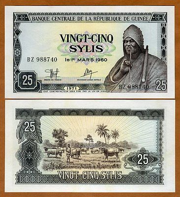 Guinea, 25 Sylis, 1971, P-17, UNC   Man with a pipe