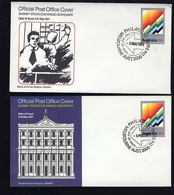 Australia 2x 1971 Sydney Stock Exchange Centenary FDC see scans x2