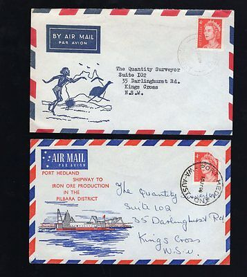 Western Australia 2x pictorial air mail covers see scans x2
