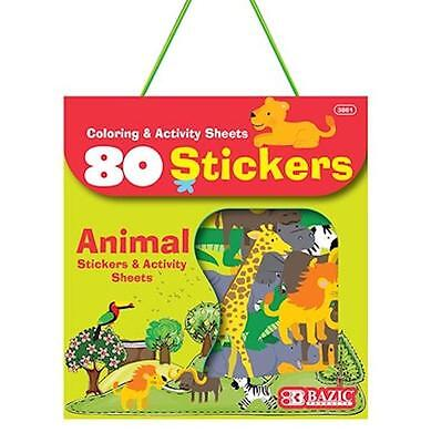 ANIMAL Stickers + Activity Sheet Pack 80 Stickers Kids Xmas Stocking Filler