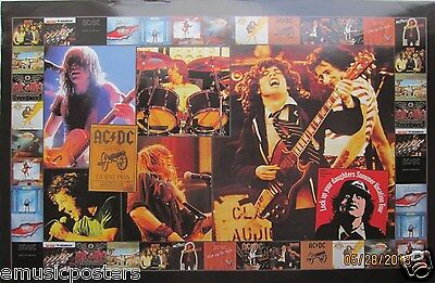 "Ac/dc ""collage Of Album Covers & Concert Shots"" Mexican Commercial Poster"