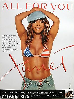"""JANET JACKSON """"ALL FOR YOU"""" U.S. PROMO POSTER -Sexy Red, White & Blue Bikini Top"""