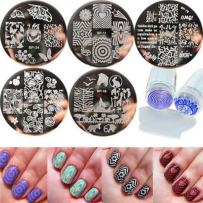 6pcs/set BORN PRETTY Nail Art Stamp Image Plates & Silicone Clear Stamper DIY