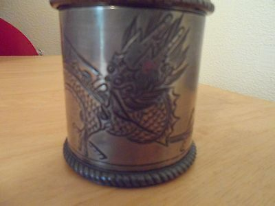 VINTAGE CHINESE SMALL TEA CADDY / JAR DRAGON DESIGN - Unmarked, possibly pewter?