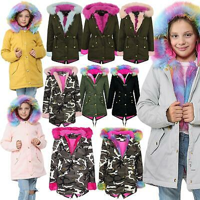 Kids Girls Hooded Jacket Rainbow Faux Fur Parka School Jackets Outwear Coat 2-13