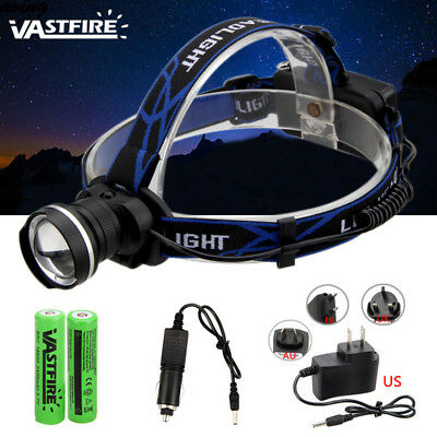 Rechargeable 5000LM Zoomable XML T6 LED USB Head Torch Headlight 2x18650+AC/CAR