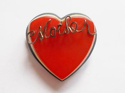 Vintage 1940's Red Blue White Laminated Lucite Heart Wire Mother Brooch - Rare