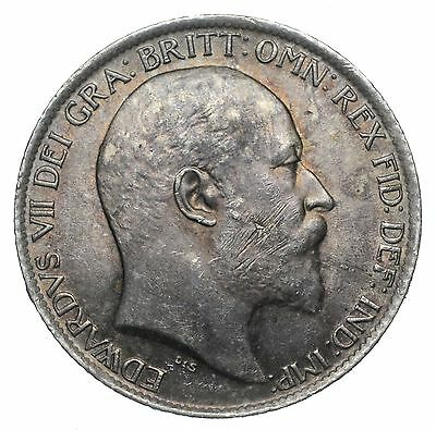 1902 Sixpence - Edward Vii British Silver Coin - Nice