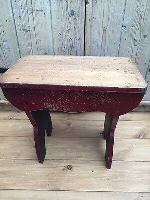 Pretty Little Vintage Old Pine Stool , Original Paint , Cherry Red
