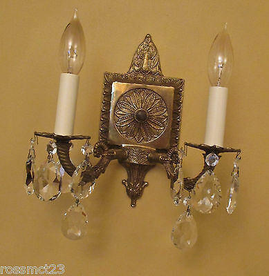 Vintage Lighting matched pair 1960s Hollywood Regency crystal sconces