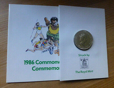 1986 £2 Coin In  Folder To Commemorate The Commonwealth Games