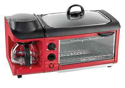 Nostalgia Retro Series 3-in-1 4-Slice Breakfast Combo Station Red Toaster Oven