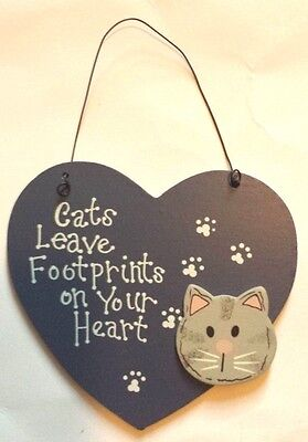 Cats Leave Footprints Wooden Sign Wall Decor Plaque Home Decor Ornament - New
