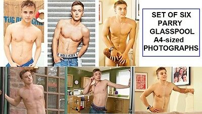 PARRY GLASSPOOL Harry Thompson in Hollyoaks Set of Six A4 sized Shirtless Photos