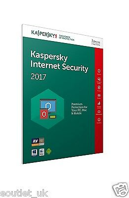 Kaspersky Internet Security 2017 Multi-Device for 5 PC/Devices Windows/Mac  NEW