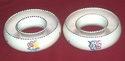 TWO Poole Pottery CIRCULAR POSY Holders