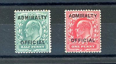 1903  Admiralty Official    1/2d  and 1d  SG O101/2  L.H.M    (D382)