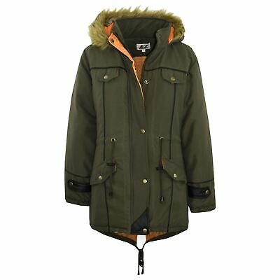 Kids Jacket DESIGNER'S Olive Parka Coat Faux Fur Hooded Top Christmas Gift 3-13
