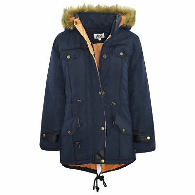 Kids Jacket DESIGNER'S Navy Parka Coat Faux Fur Hooded Top Christmas Gift 3-13