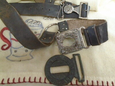 25% MacMillan's. Old used leather Girl Guides belt & damaged Church lads buckle
