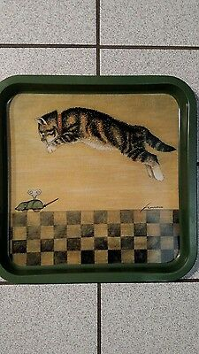 Rare 1983 Lowell Herrero  Tabby Cat and Wind-Up Toy Mouse, Square Tin Tray
