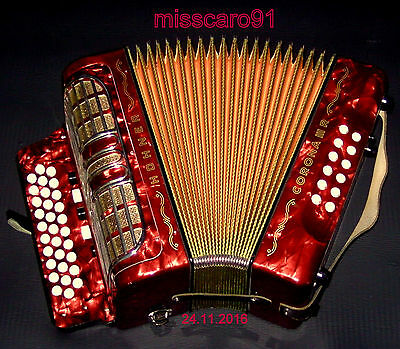 Vitage Germany Made  Hohner Corona Iii R G/c/f Button Accordion  Case + Straps