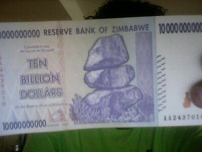 ZIMBABWE 10 BILLION DOLLARS CIRCULATED USED in 100 TRILLION SERIE = 1 NOTE