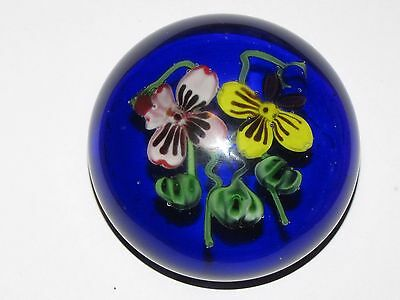 Large Vintage Glass Pansy Paperweight Cobalt Blue Ground