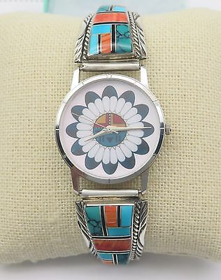 Navajo Sterling Silver Watch Ends Turquoise Spiny Oyster Sunface Dial Mens