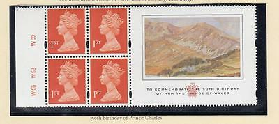 GB MNH 4 x 1st CLASS 50th BIRTHDAY OF PRINCE CHARLES CYLINDER BOOKLET PANE LABEL