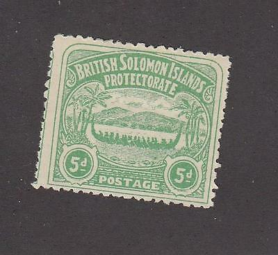 BRITISH SOLOMAN ISLANDS # 5 MH 5d CAT VALUE $67.50