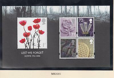 Gb Sg Ms2685 Vf-Mnh Lest We Forget Somme S/sheet Po Fresh