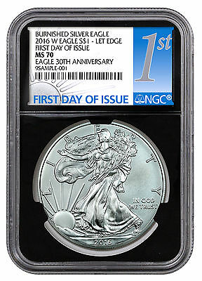 2016-W Burnished Silver Eagle NGC MS70 First Day Issue (Black) PRESALE SKU44294