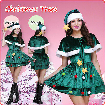 Women Christmas Tree Fancy Dress Santa Costume Party Green Xmas Outfit