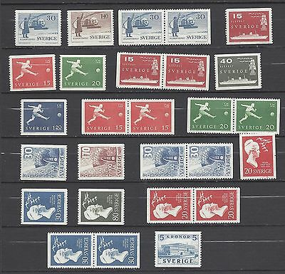 Sweden Year 1958 MNH With pairs  Scott $ 28.35