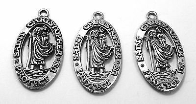 Three Large Pewter Saint Christopher  Medals - 3570