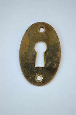Original antique pressed brass escutcheon plate keyhole box furniture KP7