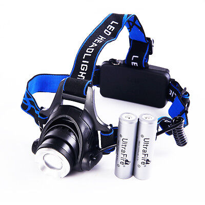 3000Lm XM-L T6 LED Headlamp Headlight Head Torch Light zoomable 2 18650 Battery