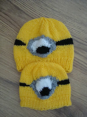 Despicable Me Minion Childs/Toddlers Hat Hand Knitted