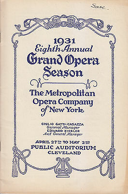 Opera Programme 1931 Rosa Ponselle Serafin Lauri Volpi Gigli Met in Cleveland
