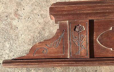 Antique Vtg Carved Gingerbread East lake Victorian Walnut Pediment Salvage