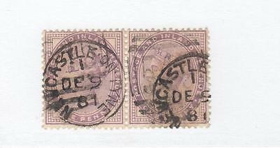 Gb # 88 Pair Son Newcastle Upon Tyne Cancels 14 Dots 1 Lilacs Cat Value $65