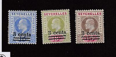 Seychelles # 49-51 Mlh Kev11 Issues Surcharges Cat Value $9.65