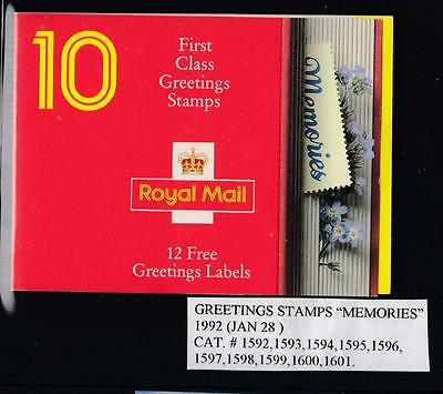 Gb Sg # 1592-1601 Mnh Greeting Stamps Memories Booklet Po Fresh
